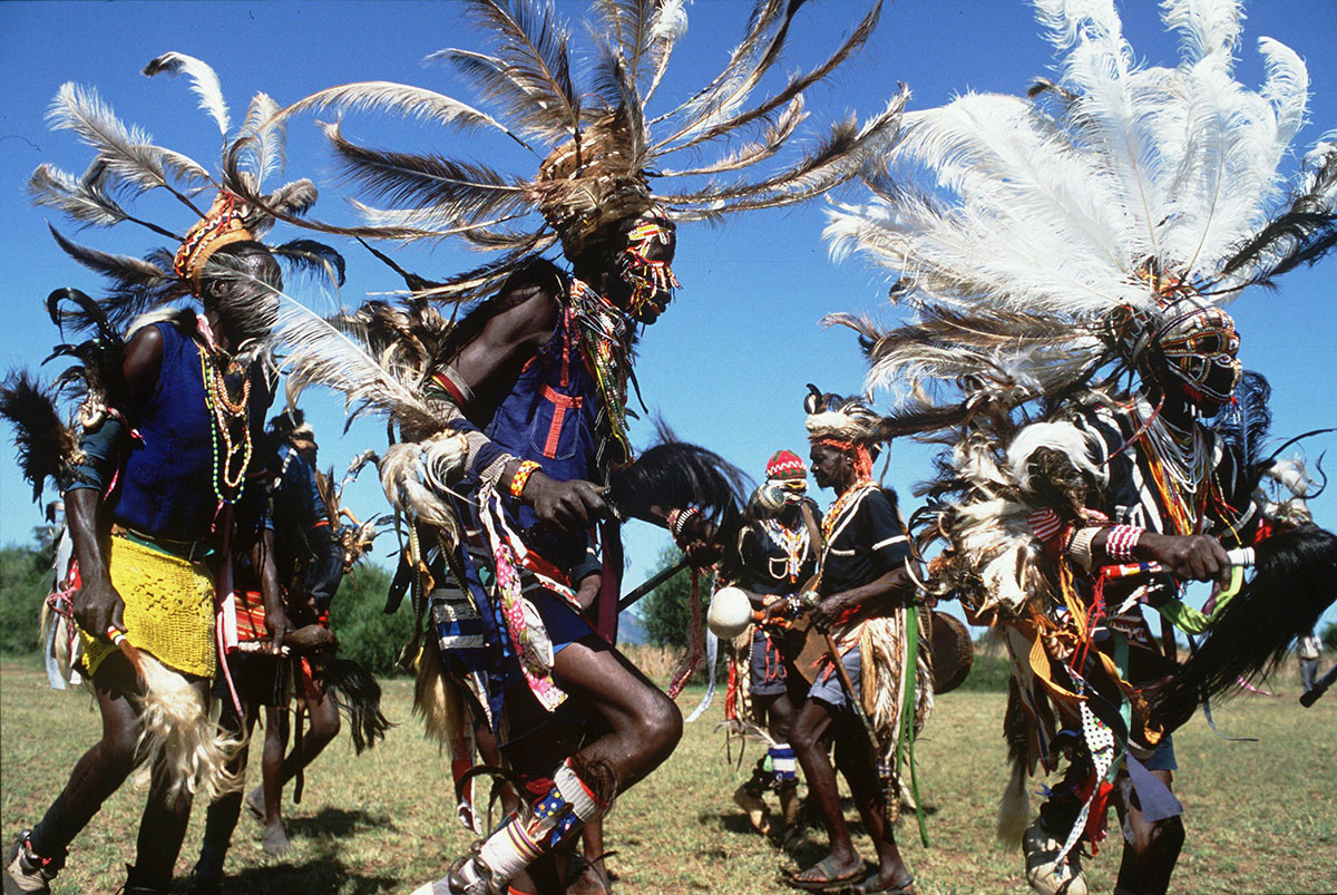 Native Africans performing a luo dance